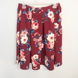 Haute Monde Burgundy and Blue Floral Pleated Skirt
